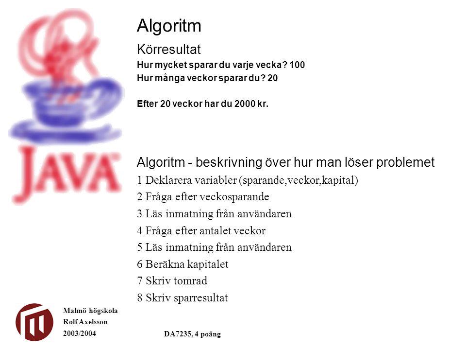 Algoritm Körresultat. Hur mycket sparar du varje vecka 100. Hur många veckor sparar du 20. Efter 20 veckor har du 2000 kr.