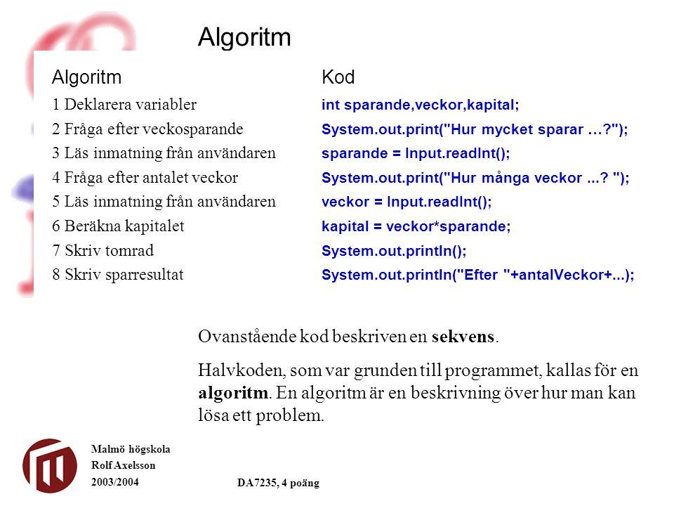 Algoritm Algoritm Kod Ovanstående kod beskriven en sekvens.