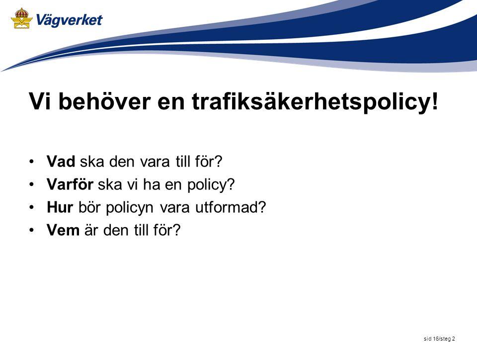 Vi behöver en trafiksäkerhetspolicy!