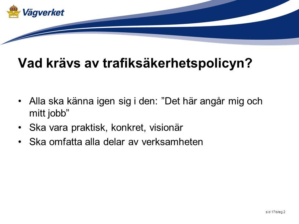 Vad krävs av trafiksäkerhetspolicyn