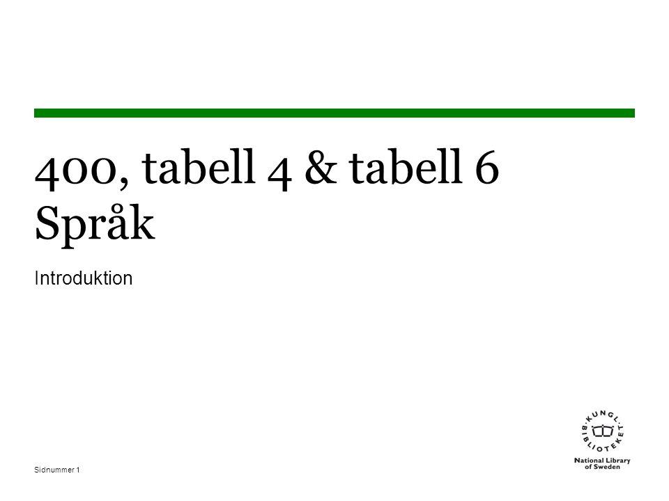 400, tabell 4 & tabell 6 Språk Introduktion Okoplicerat Inga nollor