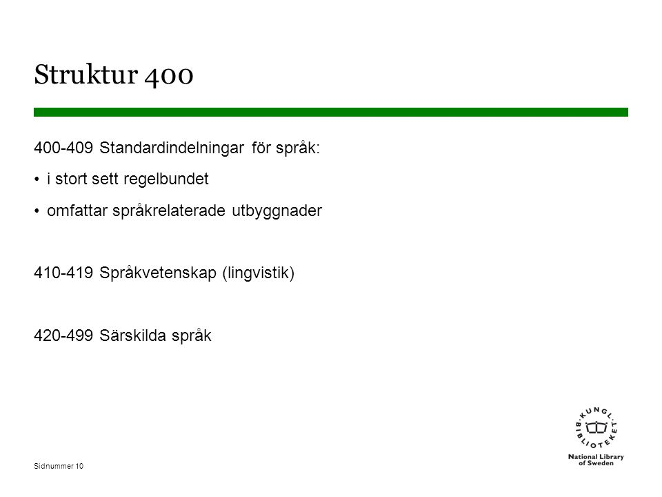 Struktur 400 400-409 Standardindelningar för språk: