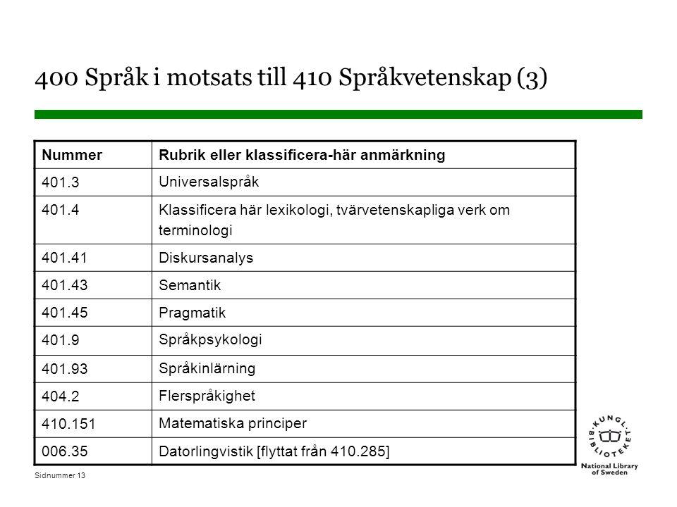 400 Språk i motsats till 410 Språkvetenskap (3)