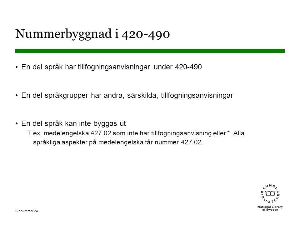Nummerbyggnad i 420-490 En del språk har tillfogningsanvisningar under 420-490. En del språkgrupper har andra, särskilda, tillfogningsanvisningar.