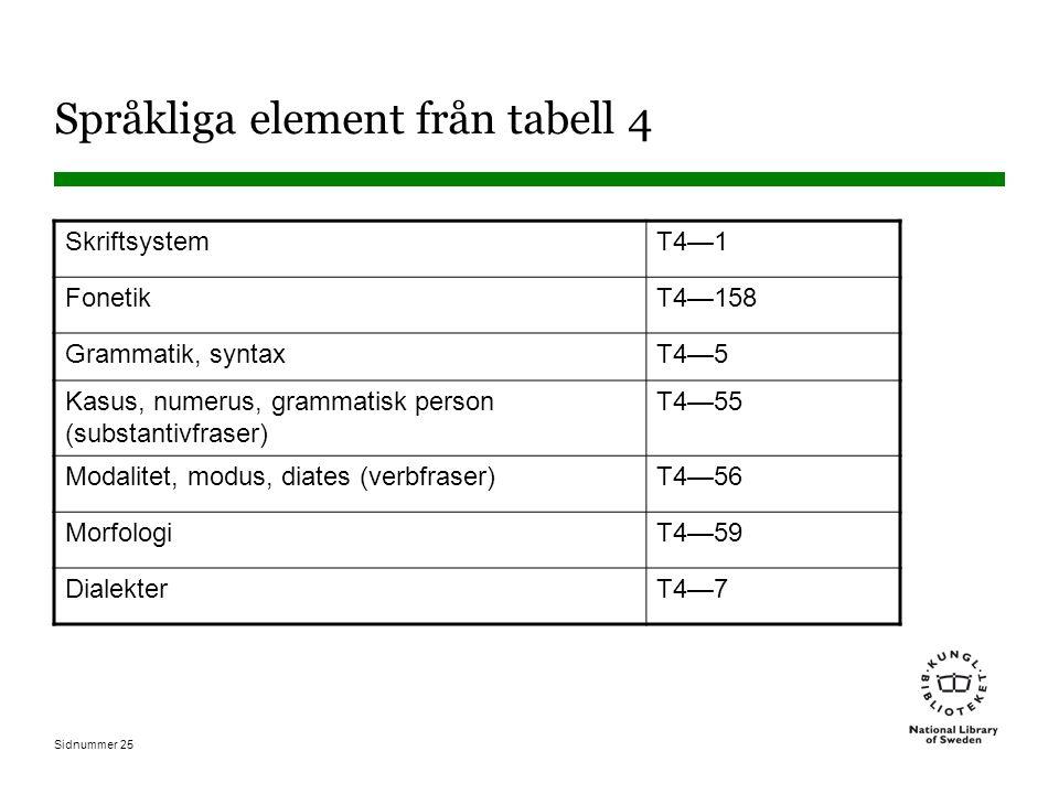Språkliga element från tabell 4