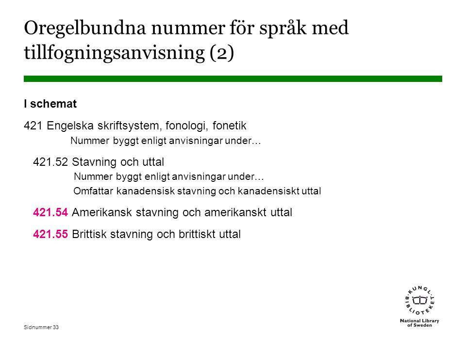 Oregelbundna nummer för språk med tillfogningsanvisning (2)