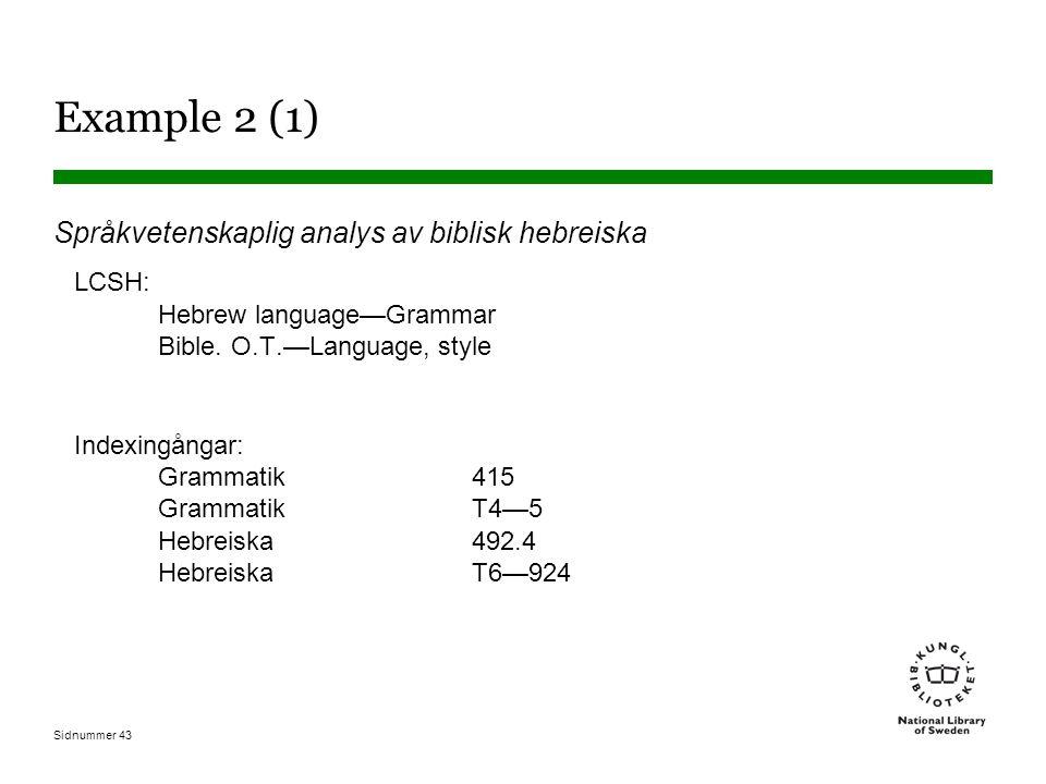 Example 2 (1) Språkvetenskaplig analys av biblisk hebreiska