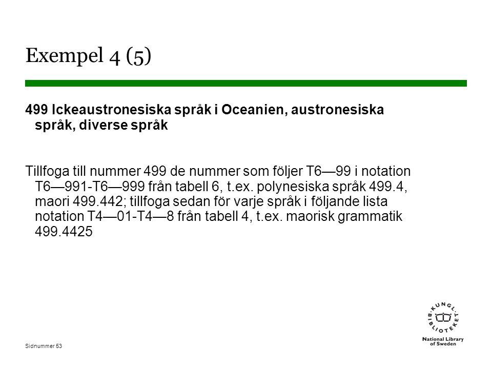 Exempel 4 (5) 499 Ickeaustronesiska språk i Oceanien, austronesiska språk, diverse språk.