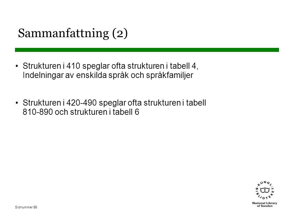Sammanfattning (2) Strukturen i 410 speglar ofta strukturen i tabell 4, Indelningar av enskilda språk och språkfamiljer.