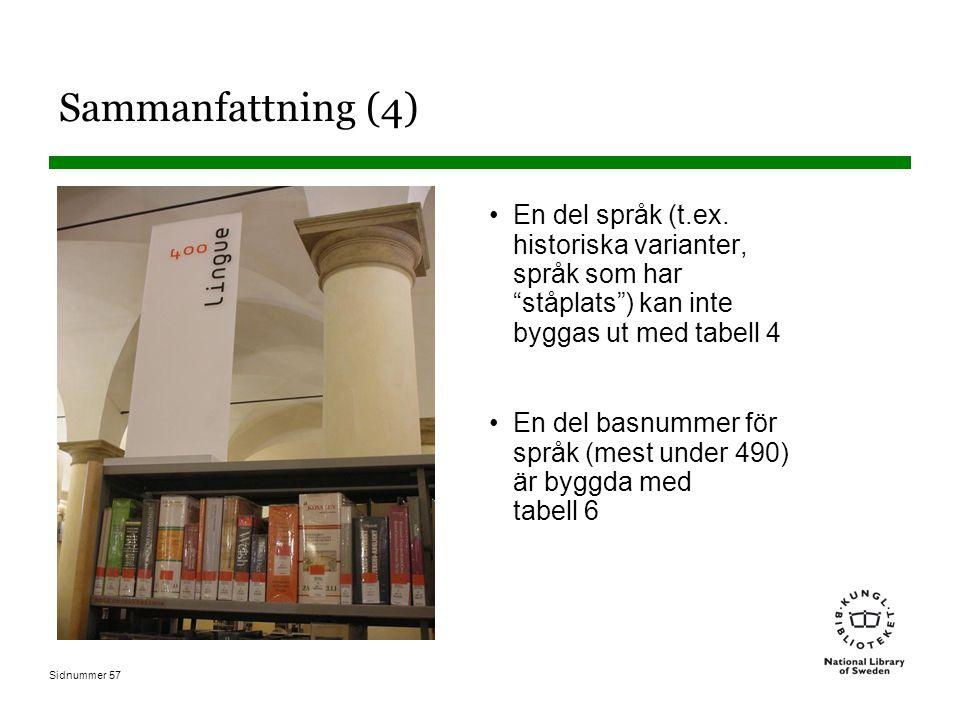 Sammanfattning (4) En del språk (t.ex. historiska varianter, språk som har ståplats ) kan inte byggas ut med tabell 4.