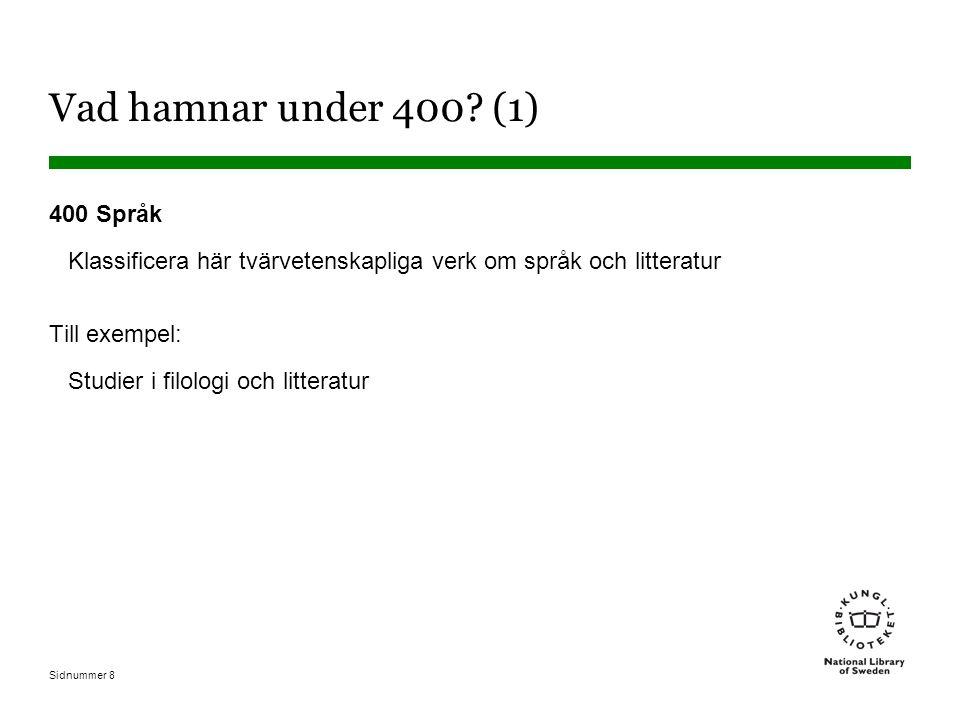 Vad hamnar under 400 (1) 400 Språk. Klassificera här tvärvetenskapliga verk om språk och litteratur.