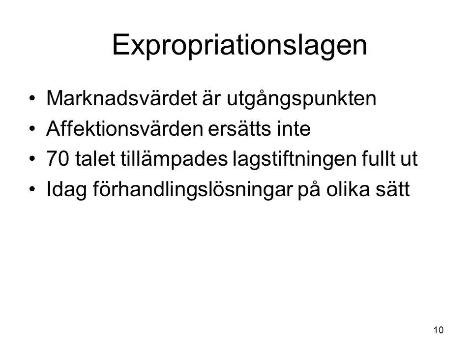 Expropriationslagen Marknadsvärdet är utgångspunkten