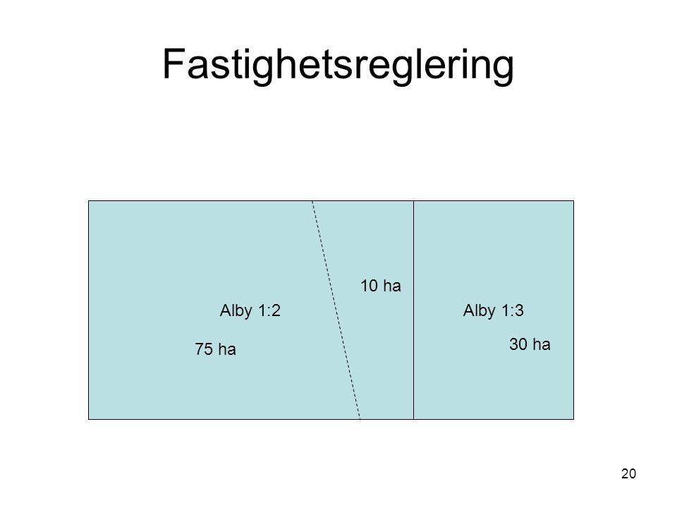 Fastighetsreglering Alby 1:2 Alby 1:3 10 ha 30 ha 75 ha