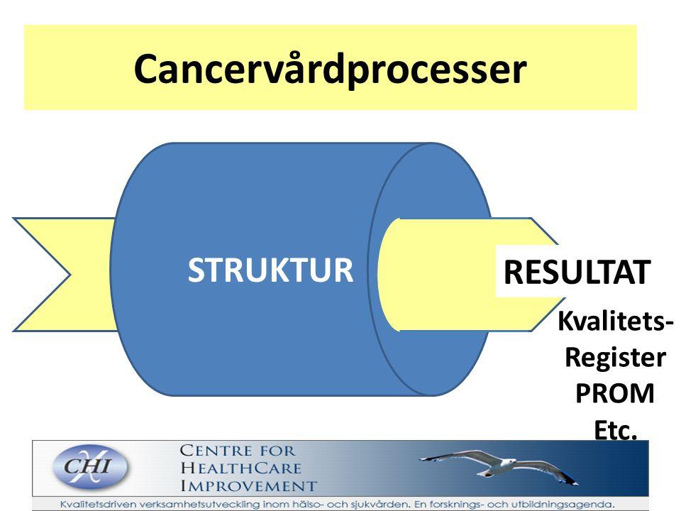 Cancervårdprocesser STRUKTUR RESULTAT Kvalitets- Register PROM Etc.