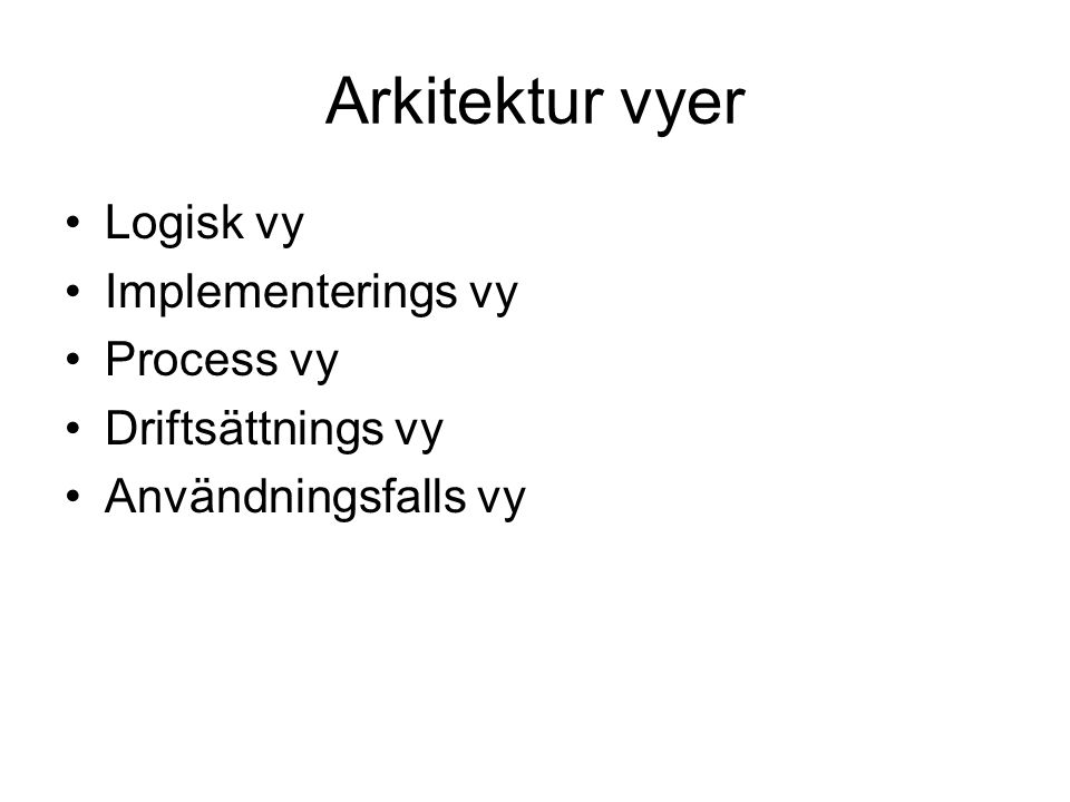Arkitektur vyer Logisk vy Implementerings vy Process vy