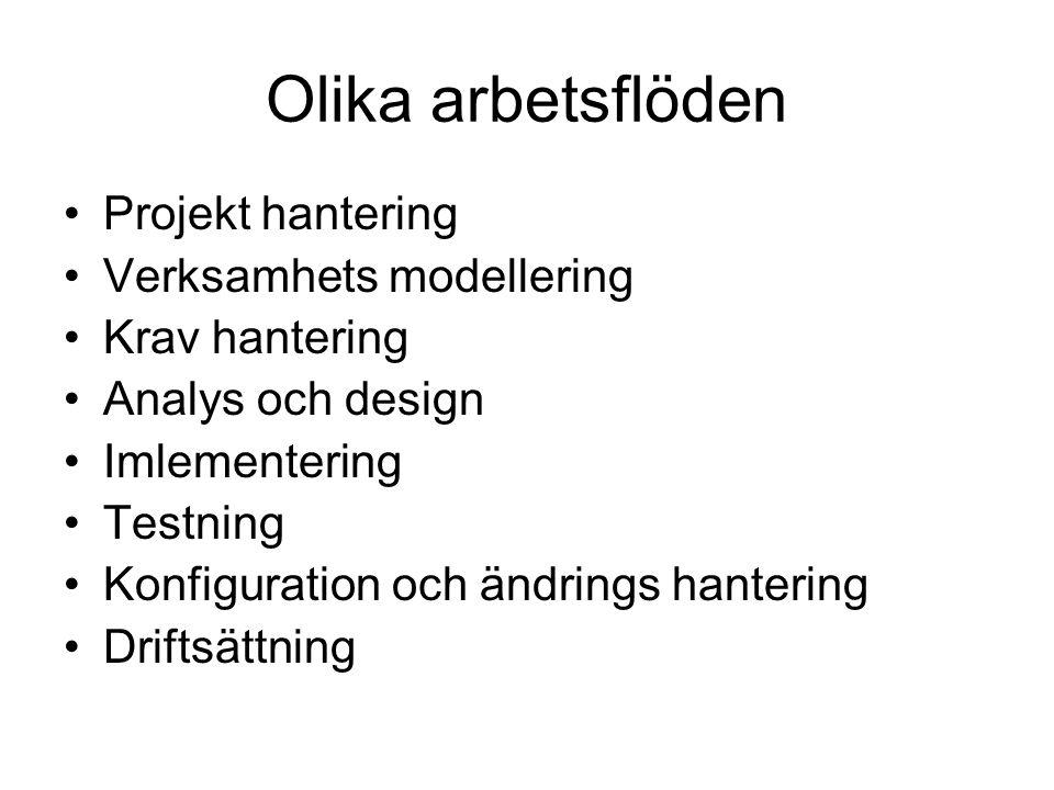 Olika arbetsflöden Projekt hantering Verksamhets modellering