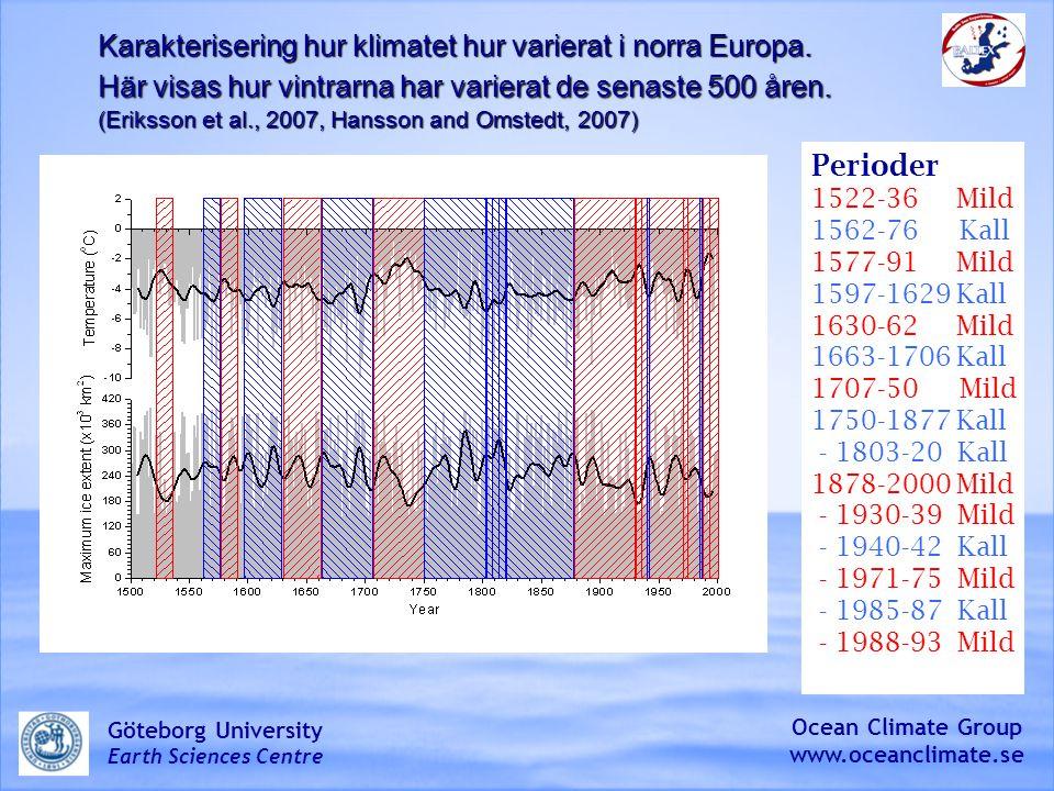 Karakterisering hur klimatet hur varierat i norra Europa.
