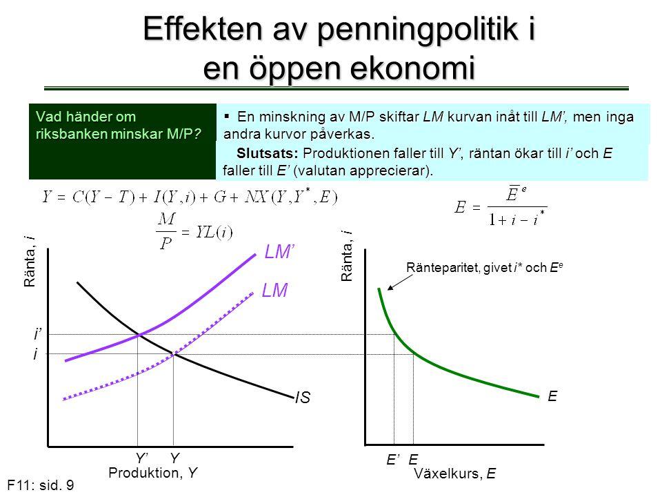 Effekten av penningpolitik i en öppen ekonomi