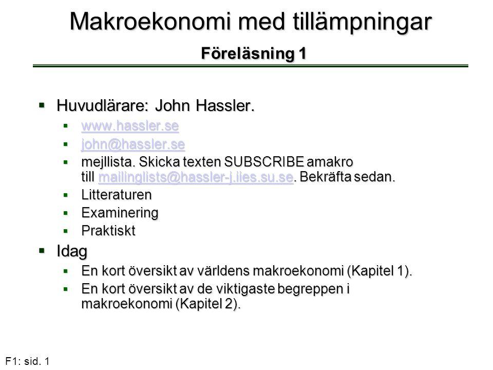 Makroekonomi med tillämpningar Föreläsning 1
