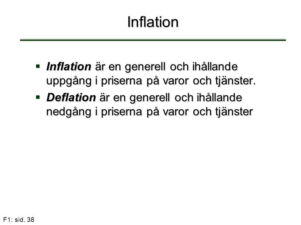 Inflation Inflation är en generell och ihållande uppgång i priserna på varor och tjänster.