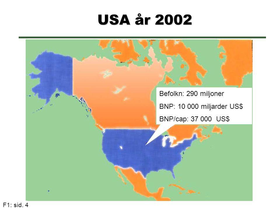 USA år 2002 Befolkn: 290 miljoner BNP: 10 000 miljarder US$