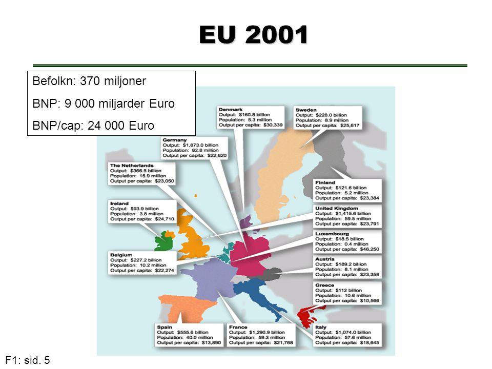 EU 2001 Befolkn: 370 miljoner BNP: 9 000 miljarder Euro