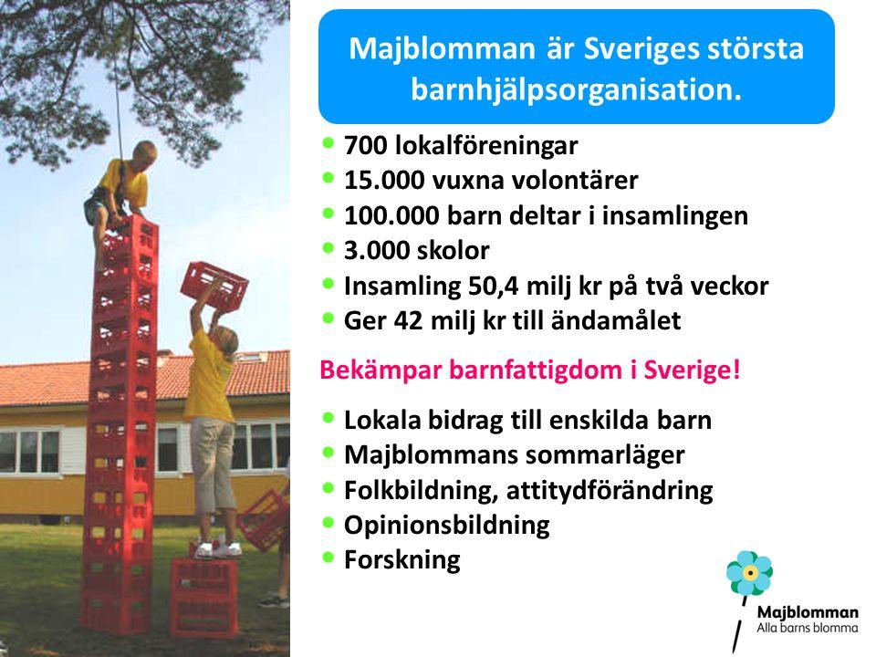 Majblomman är Sveriges största barnhjälpsorganisation.