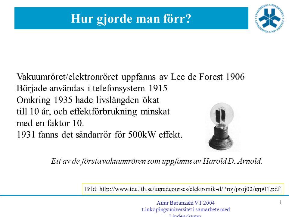 Hur gjorde man förr Vakuumröret/elektronröret uppfanns av Lee de Forest 1906. Började användas i telefonsystem 1915.