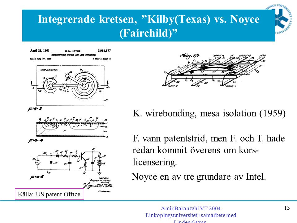 Integrerade kretsen, Kilby(Texas) vs. Noyce (Fairchild)
