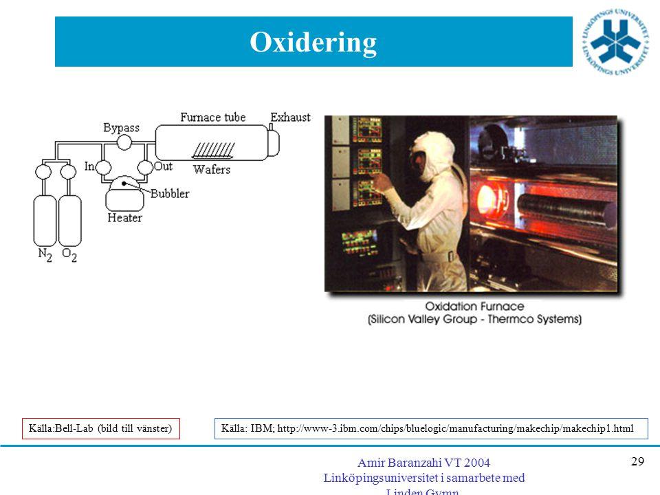 Oxidering Källa:Bell-Lab (bild till vänster) Källa: IBM; http://www-3.ibm.com/chips/bluelogic/manufacturing/makechip/makechip1.html.
