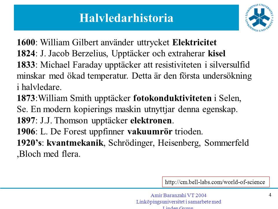 Halvledarhistoria 1600: William Gilbert använder uttrycket Elektricitet. 1824: J. Jacob Berzelius, Upptäcker och extraherar kisel.