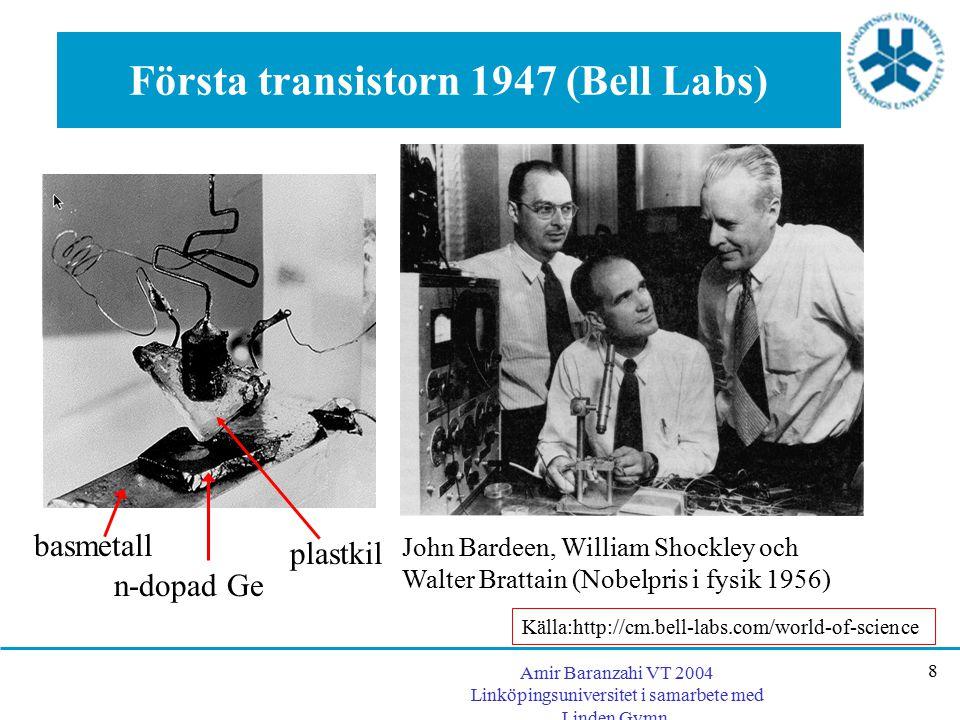 Första transistorn 1947 (Bell Labs)