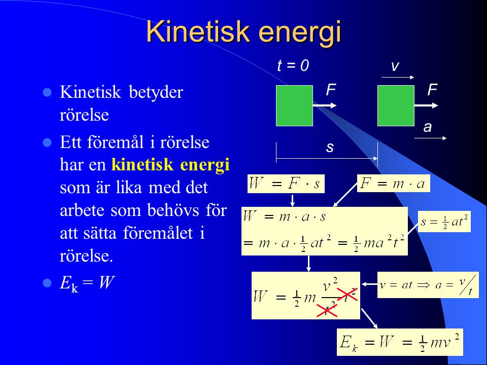 Kinetisk energi Kinetisk betyder rörelse
