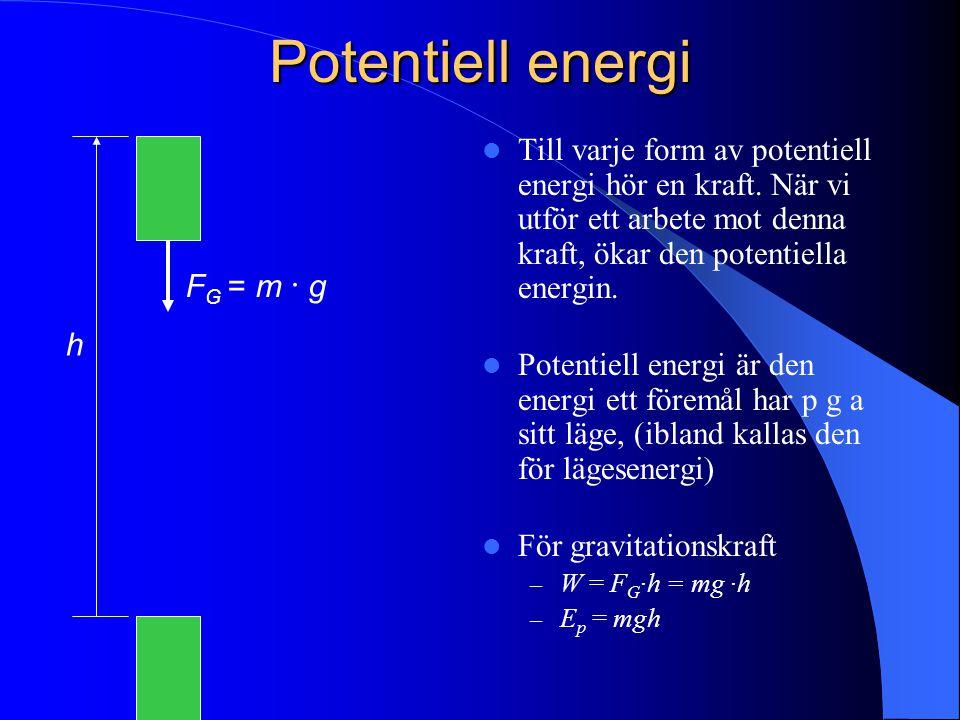 Potentiell energi Till varje form av potentiell energi hör en kraft. När vi utför ett arbete mot denna kraft, ökar den potentiella energin.