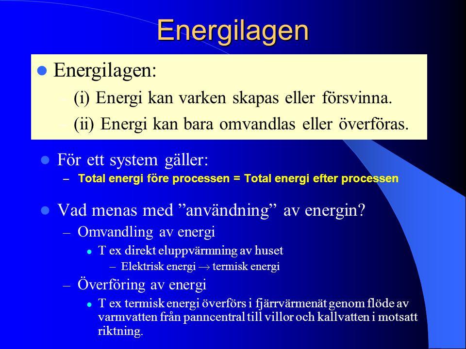 Energilagen Energilagen: (i) Energi kan varken skapas eller försvinna.