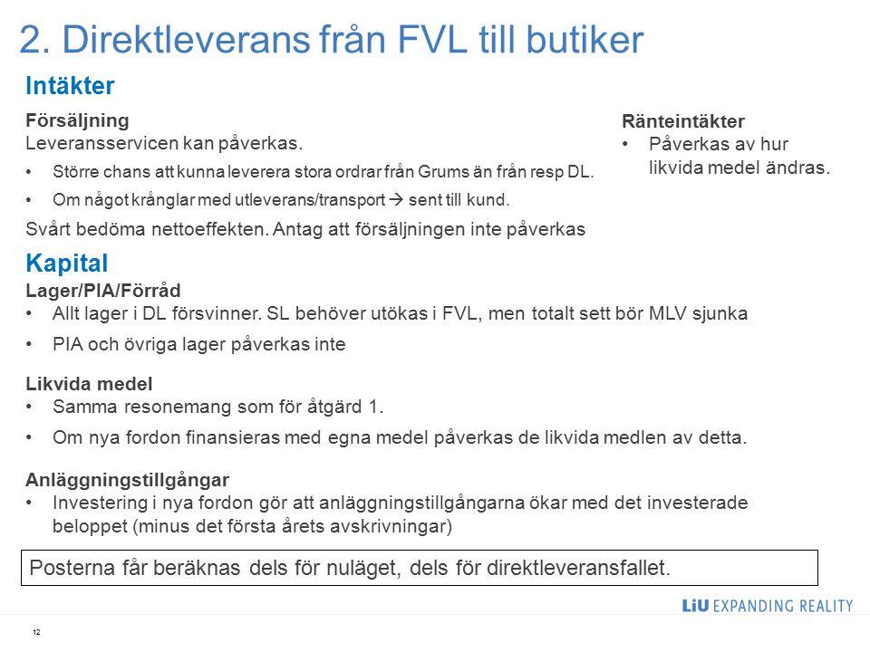 2. Direktleverans från FVL till butiker