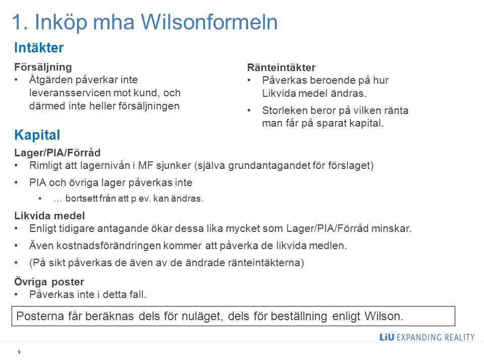1. Inköp mha Wilsonformeln