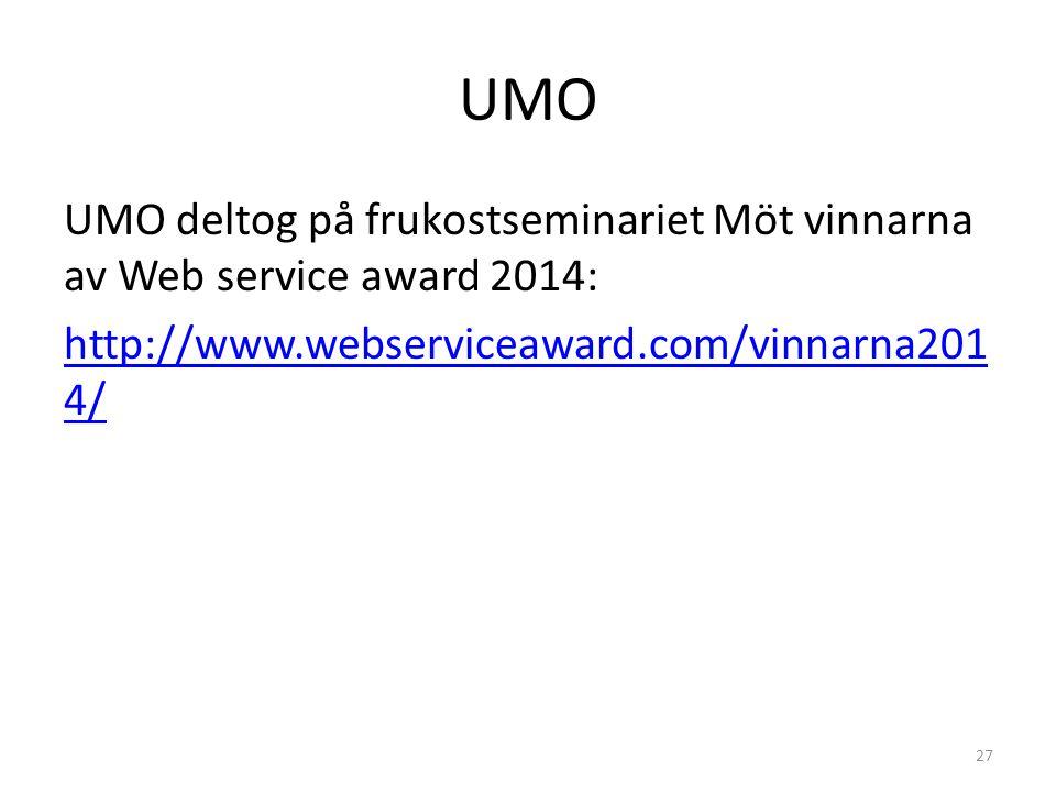 UMO UMO deltog på frukostseminariet Möt vinnarna av Web service award 2014: http://www.webserviceaward.com/vinnarna2014/