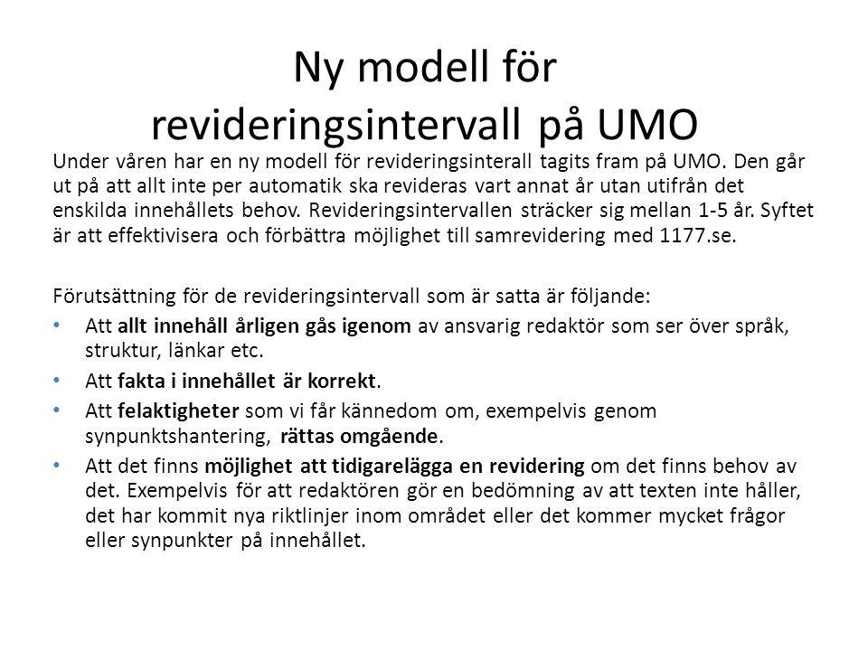 Ny modell för revideringsintervall på UMO