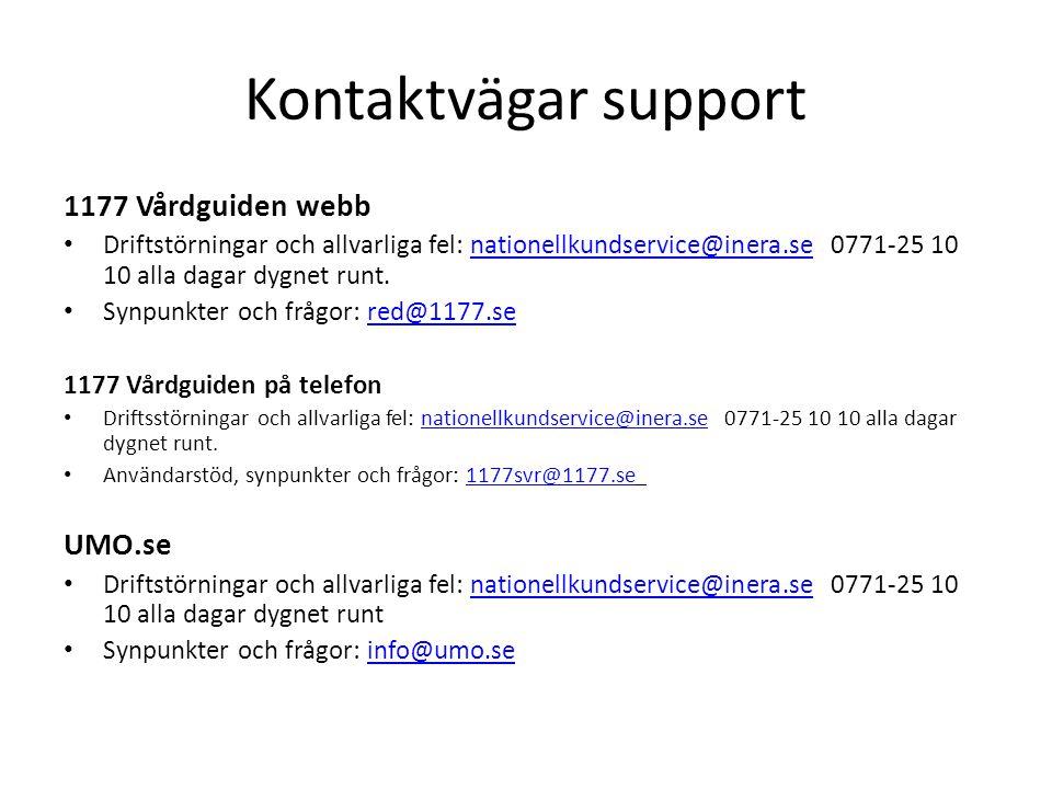 Kontaktvägar support 1177 Vårdguiden webb UMO.se
