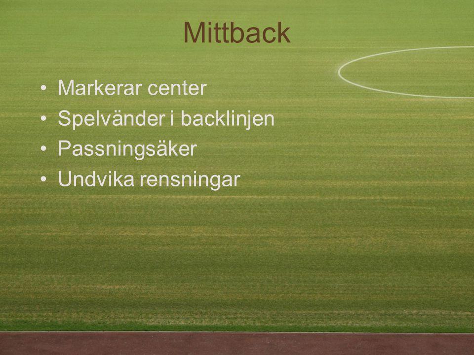 Mittback Markerar center Spelvänder i backlinjen Passningsäker