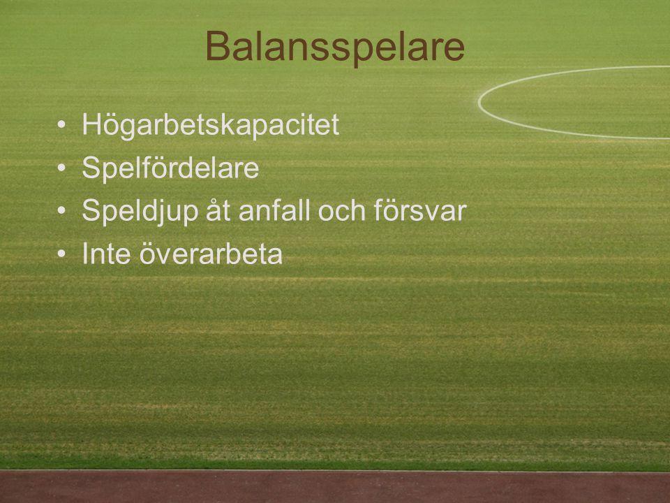 Balansspelare Högarbetskapacitet Spelfördelare