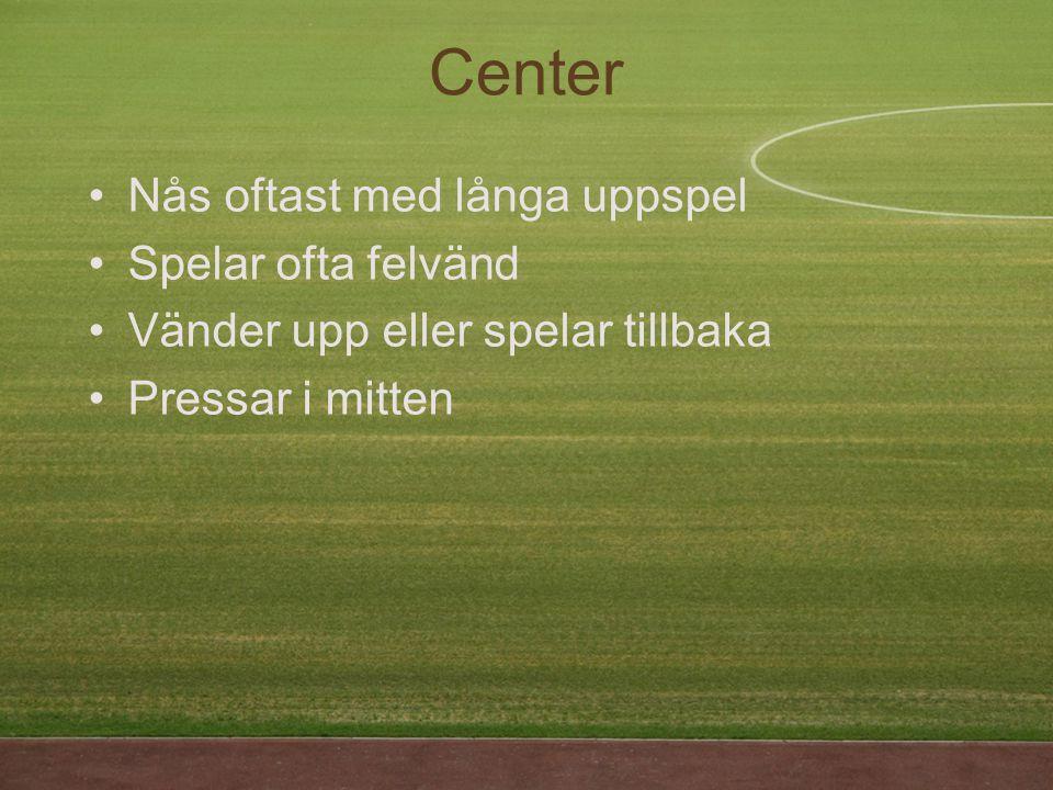 Center Nås oftast med långa uppspel Spelar ofta felvänd