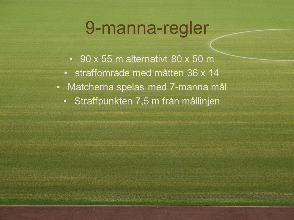 9-manna-regler 90 x 55 m alternativt 80 x 50 m