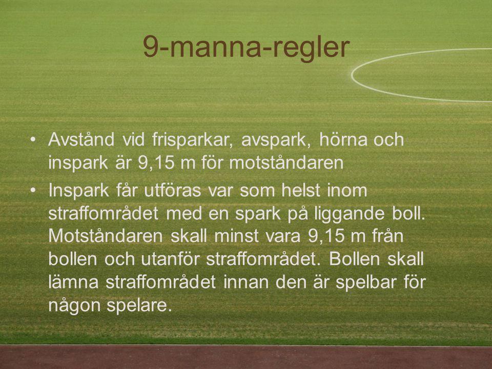 9-manna-regler Avstånd vid frisparkar, avspark, hörna och inspark är 9,15 m för motståndaren.