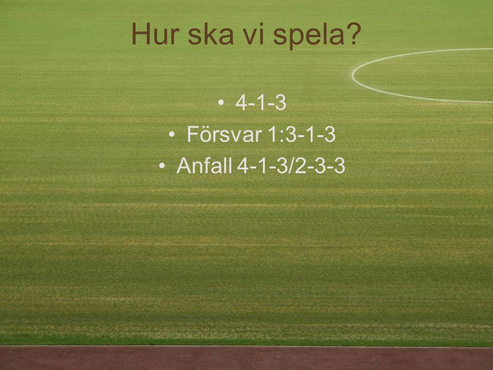 Hur ska vi spela 4-1-3 Försvar 1:3-1-3 Anfall 4-1-3/2-3-3