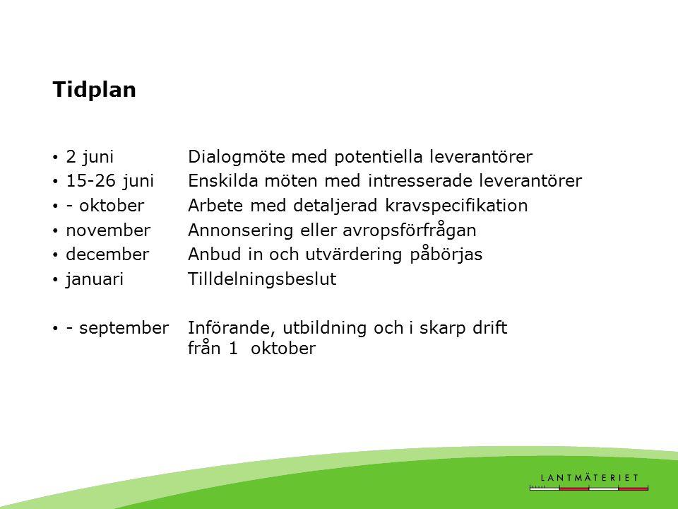 Tidplan 2 juni Dialogmöte med potentiella leverantörer
