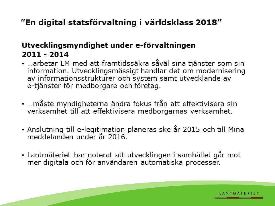 En digital statsförvaltning i världsklass 2018