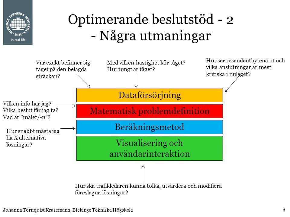 Optimerande beslutstöd - 2 - Några utmaningar