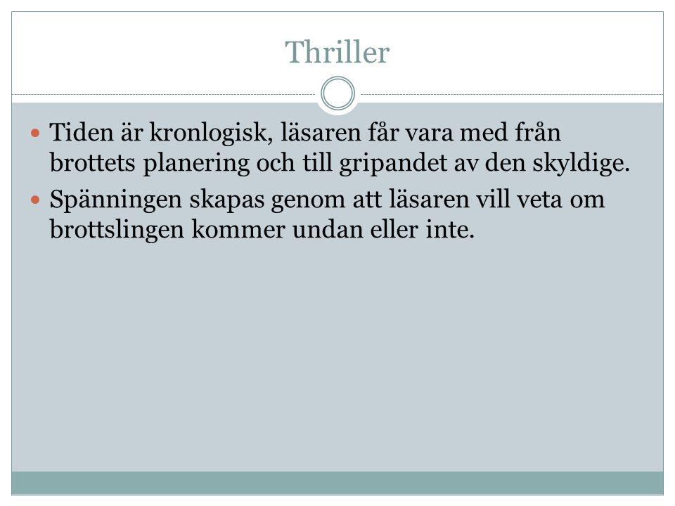 Thriller Tiden är kronlogisk, läsaren får vara med från brottets planering och till gripandet av den skyldige.